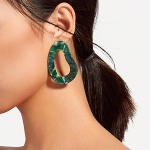Green Oval Curved Shaped Acrylic Post Earrings